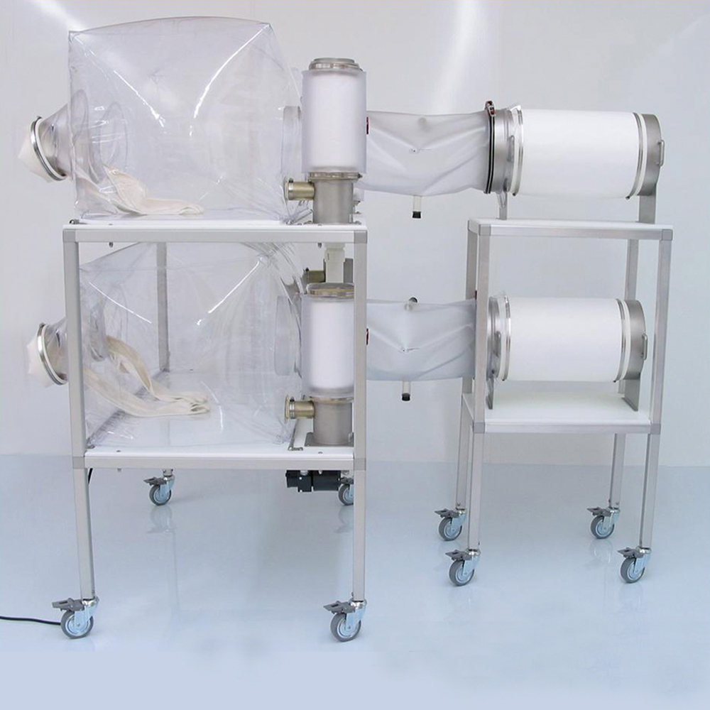 Trolley to secure sterilizing cylinders in place and prevent accidents.