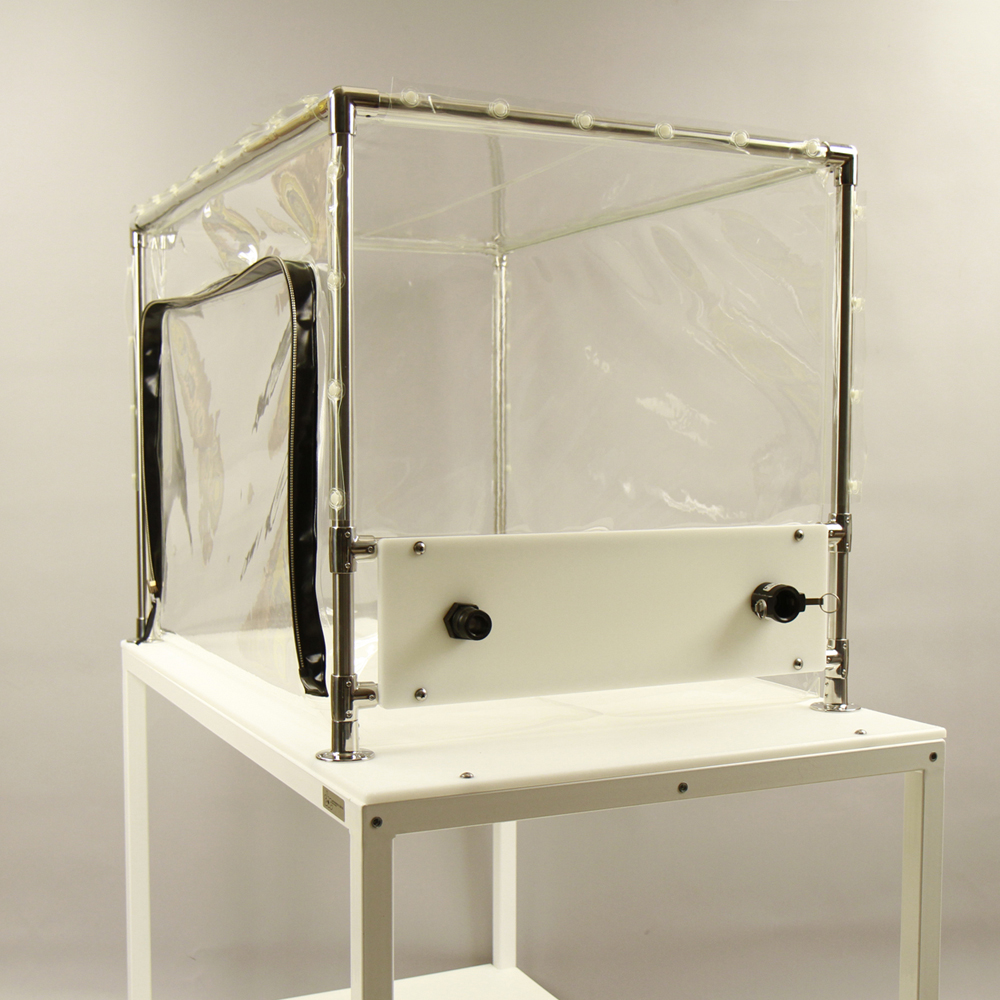 Flexible film decontamination chamber.