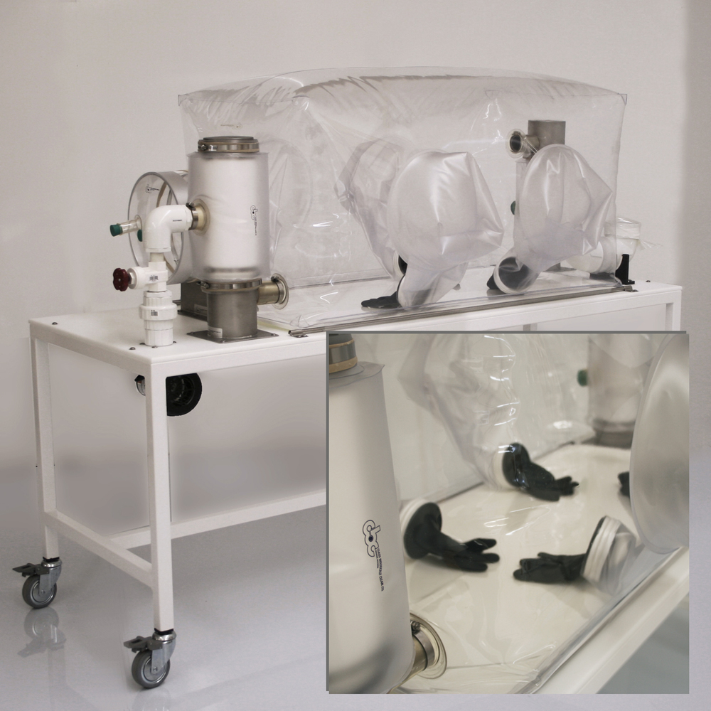 CBC Surgical Isolator for gnotobiotic research with glove sleeves on both sides of vinyl isolator.