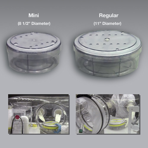 The CBC TransDisk allows researchers to transfer mice into or out of an isolator without a transfer sleeve.